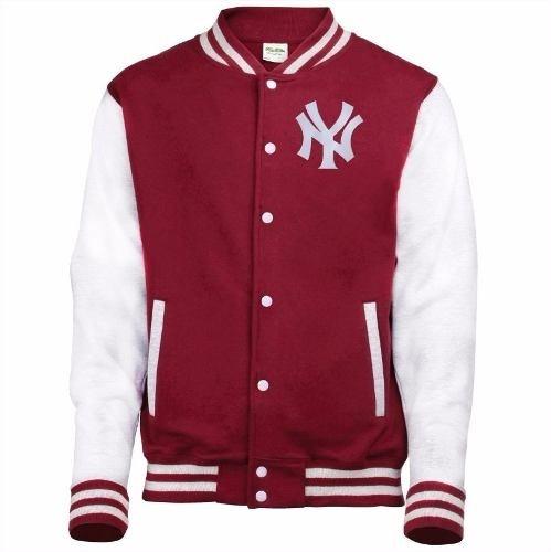 Jaqueta Blusa Casaco Baseball Ny College Vinho Bege P M G 80768204eccf4
