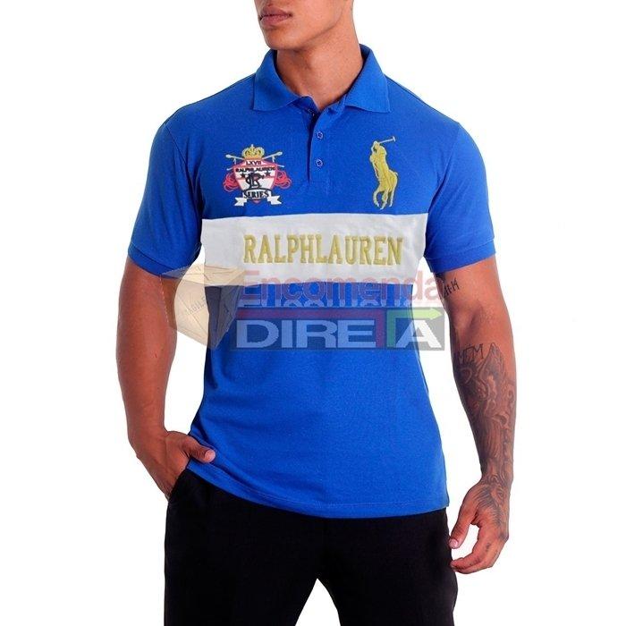 ... Camisa Polo Ralph Lauren Series Masculina Azul Royal Estampada. Oferta 72254be7138