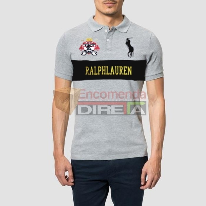 ... Camisa Polo Ralph Lauren Series Masculina Cinza Estampada. Oferta b3369fc7f0d