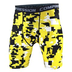 Shorts Legging Masculino Compressão Amarelo Pixel Work Fit Cross Fit Running Gym