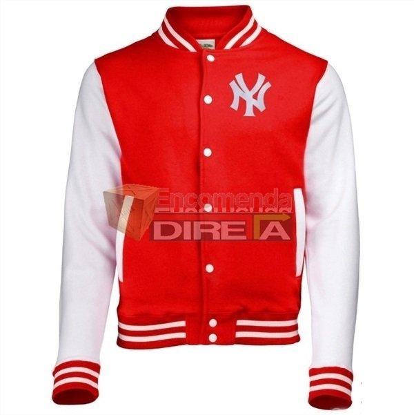 Jaqueta College Blusa Casaco Moletom Ny New York City Vermelha Branca 80efd8c98d2