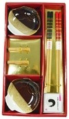 KIT SUSHI PORC C/8 PCS DOURADO DECOR - 125602