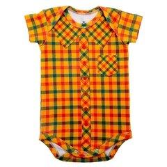 Body Bebê Com Estampa de Camisa Xadrez Amarela - Isabb