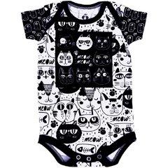 Body Bebê Estampado Gatos Preto e Branco - Isabb