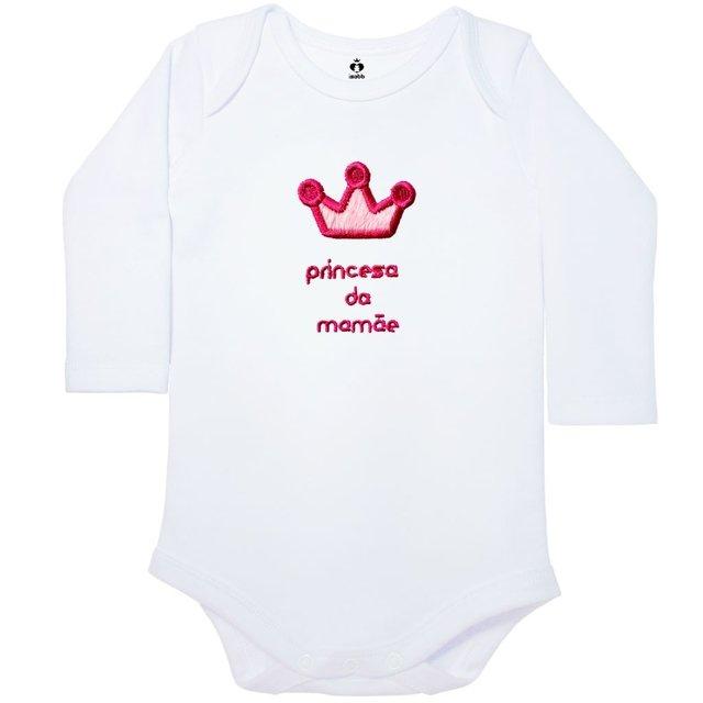 Body Bordado Manga Longa Branco Algodão Princesa da Mamãe  3be3cea9346