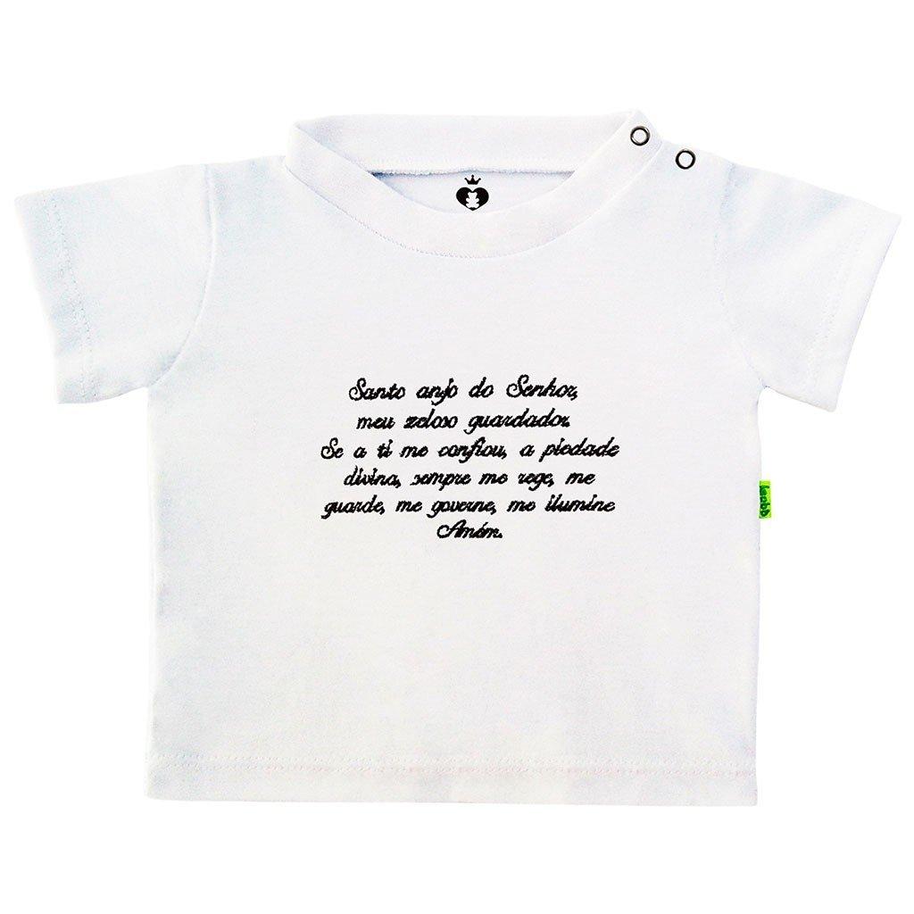 Camiseta Infantil Bebê Bordada Manga Curta Branca Algodão Oração do Anjo da  Guarda  0774904d69c