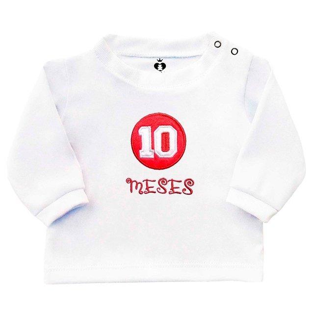 Camiseta Infantil Bebê Bordada Manga Longa Branca Algodão Mêsversário 10  Meses  2a990ad5b85