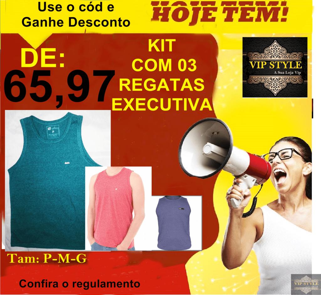 KIT 03 PEÇAS REGATA MASCULINA EXECUTIVA 100% algodão 279d3ea7c66
