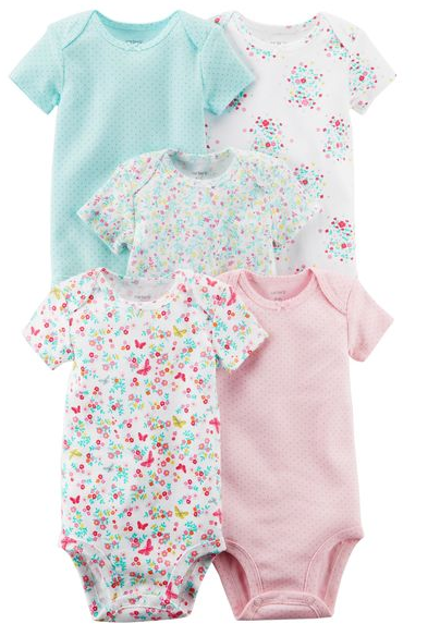 Bodys Carters bebe nena pack x 5 unidades