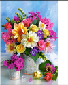 (1327) Pintura com Diamante - Flower Bouquet - 20x30 cm - Total