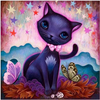(1438) Pintura com Diamante - Black Kitty; Jeremiah Ketner - 30x30 cm