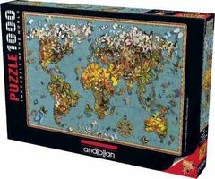 (986) Butterfly World Map; Garry Walton - 1000 peças