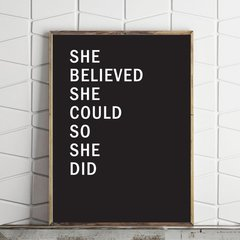 CUADRO SHE BELIEVED SHE COULD SO SHE DID BLACK - comprar online