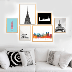 SET DE CUADROS LONDON PARIS NEW YORK - comprar online