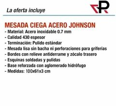 Mesada Johnson Acero Inoxidable  100 X 61 Ciega Lisa 1,00 - comprar online
