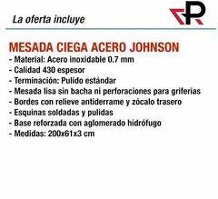 Mesada Johnson Acero Inoxidable 2.00 200 X 61 Ciega Lisa 2 M - comprar online