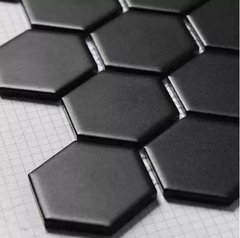 Porcelanato Hexágonal Negro Mate 17,5x20 Piso Pared Acuarela