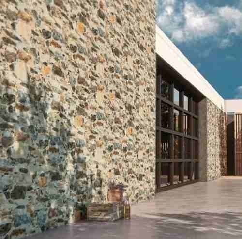 Revestimiento simil piedra ceramica muralla gris pared for Paredes simil piedra