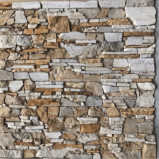 Murete piedra natural oxido revestimiento en mallas de 60x14 for Revestimiento de piedra para banos