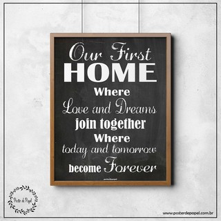 Poster estilo chalkboard First Home