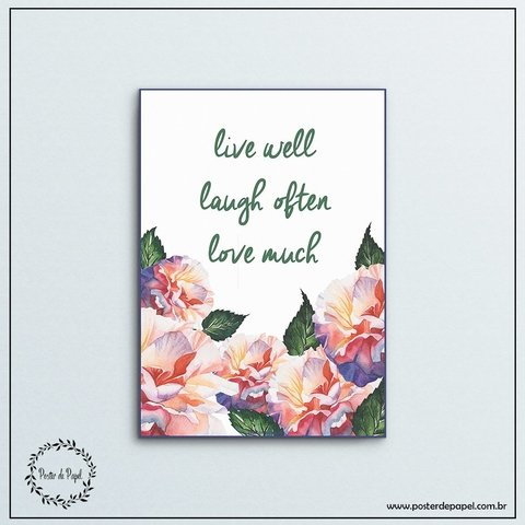 Poster Floral Live Well - Poster de Papel