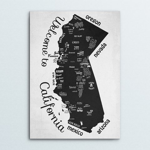 Poster Hand Draw California - comprar online