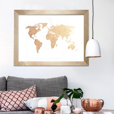 Poster Decorativo Gold Map