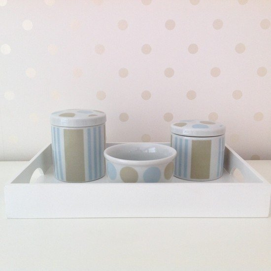 Kit de Higiene Porcelana com Bolas Azul e Bege 4 pc - Betsy Decor