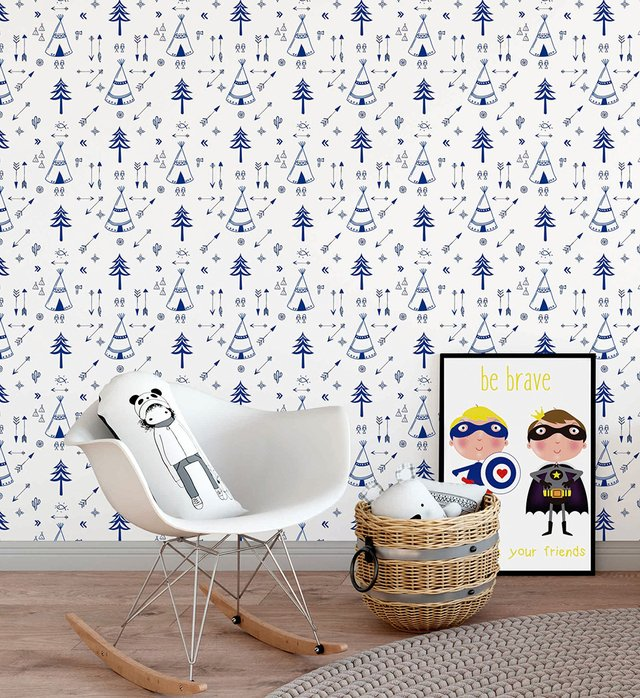 Papel de Parede Floresta - Azul - Mama Loves You - comprar online