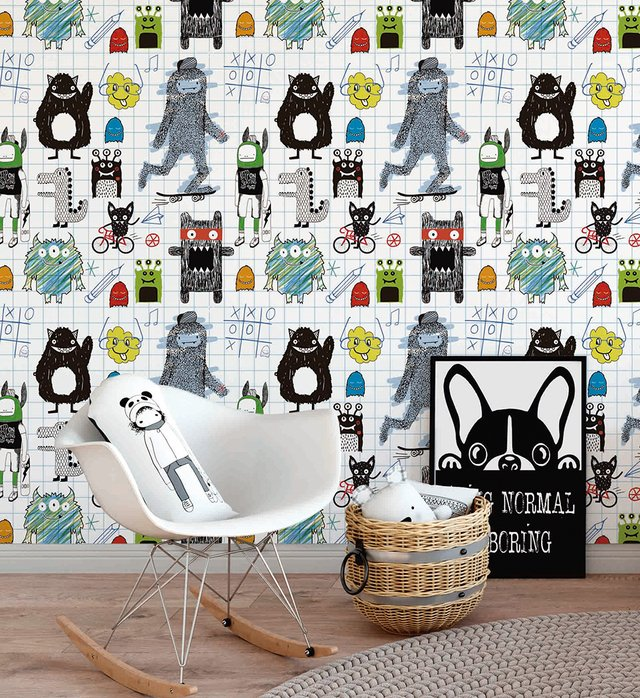 Papel de Parede Sketches Monsters - Azul - Mama Loves You - comprar online