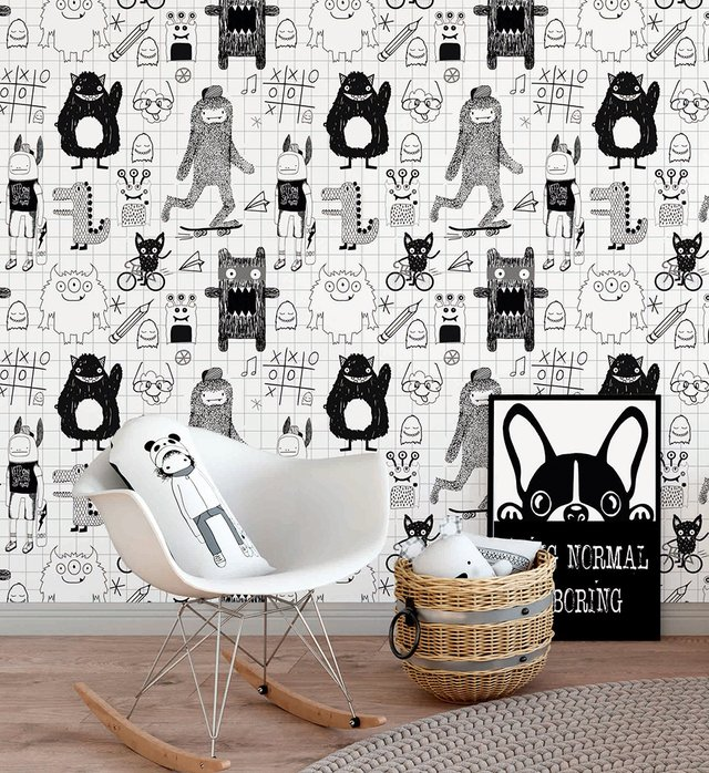 Papel de Parede Sketches Monsters - Preto e Branco - Mama Loves You - comprar online