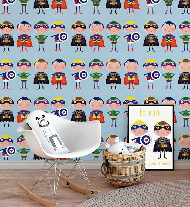 Papel de Parede Superheroes - Azul - Mama Loves You - comprar online