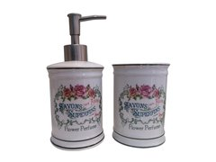 Set de Ceramica Romantique Dispenser y Vaso porta Pasta ,