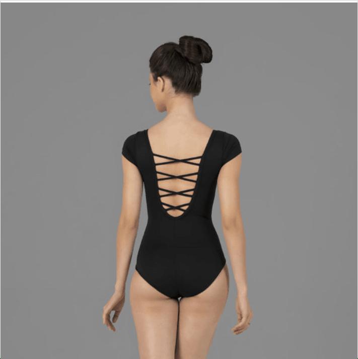 7e92d10cf2 Collant Amni Meia Manga Tiras Em X Nas Costas – Evidence Ballet - 525