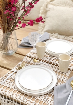 Plato porcelana white Gold x 6