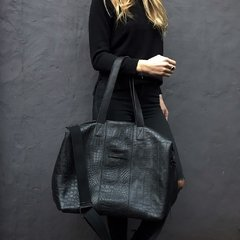 Croco Weekender Bag Total Black
