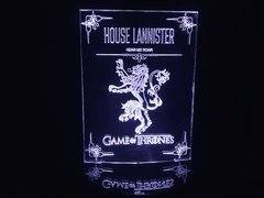 Luminária Led 3d House Lannister Game of Thrones Acrílico