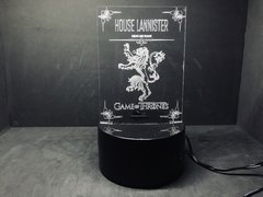 Luminária Led 3d House Lannister Game of Thrones Acrílico - comprar online