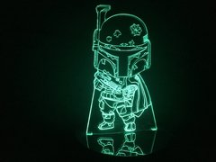 Luminária Led 3d Boba Fett Star Wars Chibi