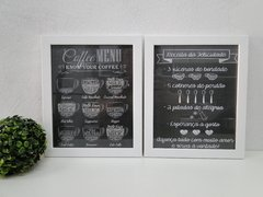 Conjunto Duo Quadros Decorativos Coffee Lettering