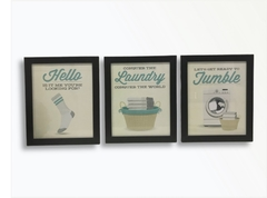 Kit 3 Quadros Decorativos Lavanderia Vintage Laundry