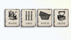 Kit 4 Quadros Decorativos Placas Laundry Lavanderia Vintage Wash