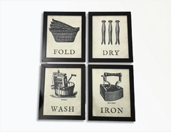 Kit 4 Quadros Decorativos Lavanderia Vintage Retrô