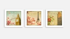 Conjunto Quadros Decorativos Paris Londres Itália na internet