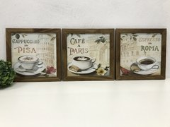 Kit Trio Quadros Decorativos Café Paris Roma - comprar online