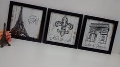 Conjunto Trio Quadros Decorativos Paris Flor de Lis na internet