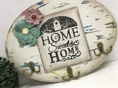 Placa Oval Porta Chaves Home Sweet Home