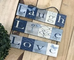 Plaquinha Decorativa Laugh Live Love Pendurada - comprar online