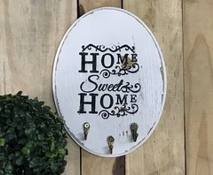 Porta Chaves Cabideiro Decorativo Oval Home Sweet Home