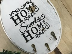 Porta Chaves Cabideiro Decorativo Oval Home Sweet Home na internet